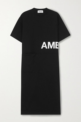 Ambush Oversized Printed Cotton-jersey Midi Dress - Black