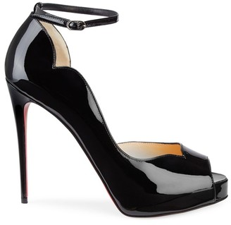 Christian Louboutin Chick Alta Patent Leather Ankle-Strap Pumps