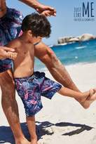 Next Boys Navy Bright Palm Leaf Swim Shorts (3mths-16yrs) - Blue