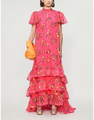 Erdem Aurelio floral-print ruffled crepe gown