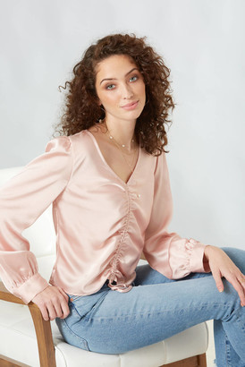 Lucy Paris Pink Ruched Front Blouse Pink M