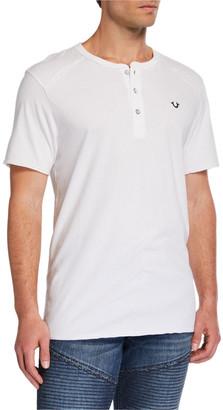 True Religion Men's Raw-Edge Short-Sleeve Henley T-Shirt