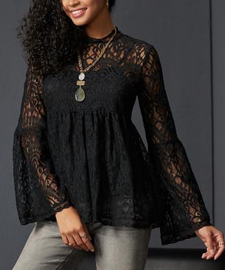 Suzanne Betro Women's Tunics 101BLACK - Black Lace-Overlay Empire-Waist Tunic - Women & Plus