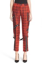 Moschino Women's Plaid Print Ankle Pants With Detachable Suspenders