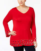 Belldini Plus Size Studded Bell-Sleeve Tunic