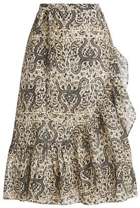 Figue Aurora Ruffle Trim Midi Skirt