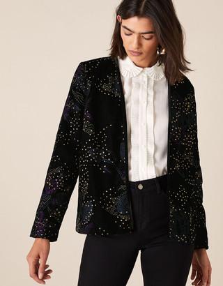 Monsoon Jolee Glitter Embroidered Velvet Jacket Black