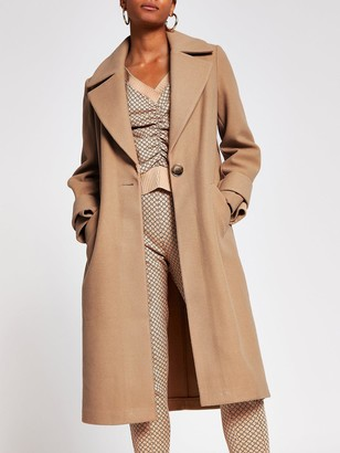 River Island Single Breasted Smart Coat - Camel