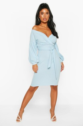 boohoo Petite Off The Shoulder Wrap Midi Dress