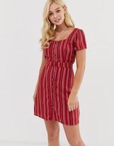 Gilli button down tea dress with square neck in stripe
