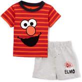 Children's Apparel Network Sesame Street Red Stripe Elmo Tee & Gray Shorts - Infant
