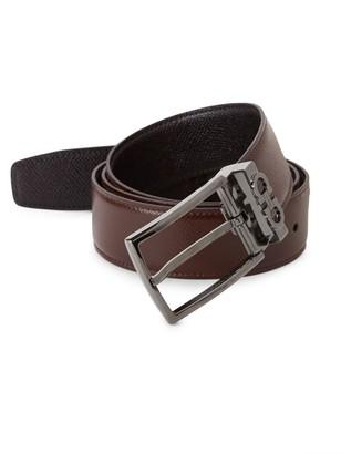 Salvatore Ferragamo Reversible Leather Gunmetal Belt