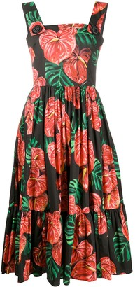 Dolce & Gabbana Laceleaf Print Midi Dress