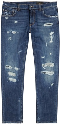 Dolce & Gabbana Dark blue distressed slim-leg jeans