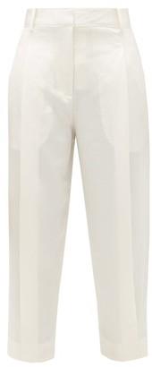 Tibi Celia High-rise Pleated Satin Tapered Trousers - Womens - Ivory