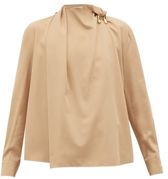 Bottega Veneta Draped Wool-gabardine Blouse - Womens - Beige
