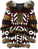 DSQUARED2 oversized panelled fur coat