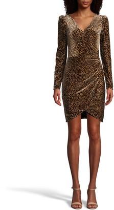 Nicole Miller Leopard Velvet Faux Wrap Dress