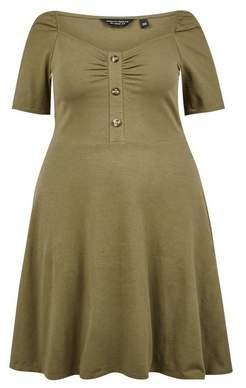 Dorothy Perkins Womens **Dp Curve Khaki Ruched Skater Cotton Blend Dress, Khaki