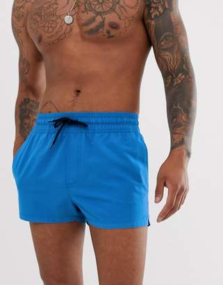 Asos Design DESIGN swim shorts in bright blue super short length