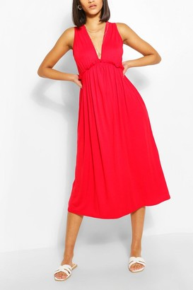 boohoo Sleeveless Frill Detail Smock Dress