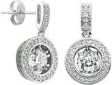 JCPenney FINE JEWELRY 100 Facets by DiamonArt Cubic Zirconia Sterling Silver Framed Drop Earrings