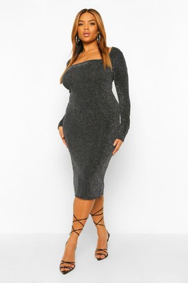 boohoo Plus Glitter Square Neck Midi Dress