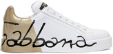 Dolce & Gabbana White and Gold Writing Sneakers