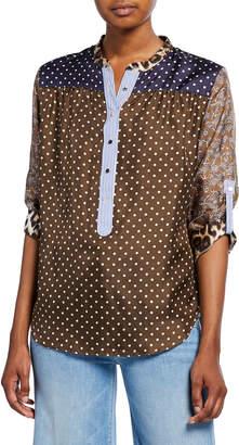 La Prestic Ouiston Romee Dot Long-Sleeve Silk Tunic with Mandarin Collar