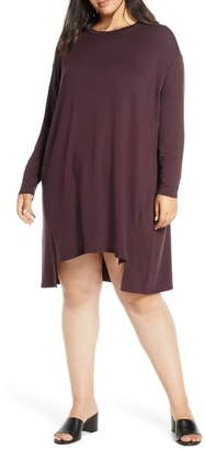 Eileen Fisher Long Sleeve Drop Tail Hem Shift Dress
