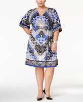 INC International Concepts Plus Size Kimono-Sleeve Wrap Dress, Only at Macy's