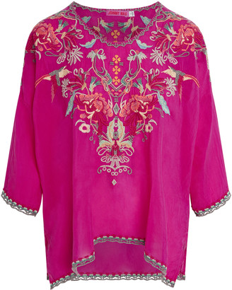 Johnny Was Merseille Embroidered Woven Blouse