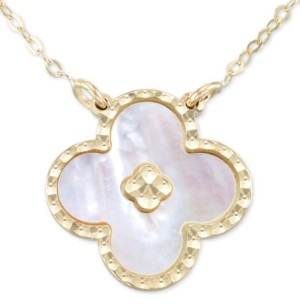 """Italian Gold Mother-of-Pearl Clover 18"""" Pendant Necklace in 10k Gold"""