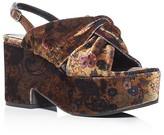 Aska Wise Floral Velvet Platform Sandals