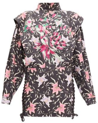 Isabel Marant Givens Floral-print Lace-up Mini Dress - Womens - Black Multi
