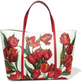 Dolce & Gabbana Dauphine Floral-print Textured-leather Tote - one size