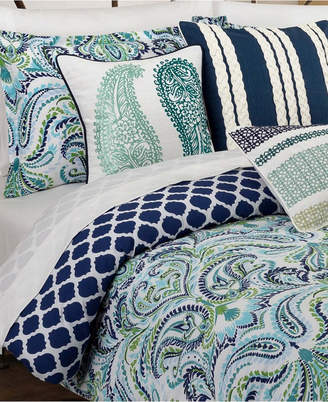 Painterly Paisley Blue King Comforter Set Bedding
