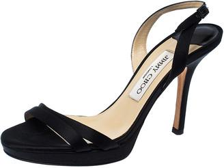 Jimmy Choo Black Satin Ankle Strap Sandals Size 36.5