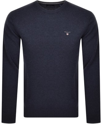 Gant Crew Neck Super Fine Knit Jumper Navy
