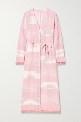 Lemlem Rekik Belted Frayed Striped Cotton-gauze Midi Dress - Baby pink