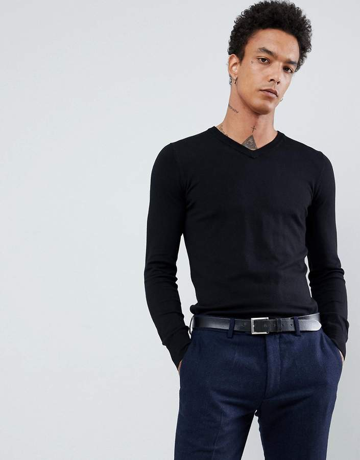 Gianni Feraud Premium Muscle Fit Stretch V Neck Sweater
