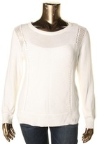 Vince Camuto Womens Cotton Knit Crewneck Sweater