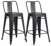 """AC Pacific Modern Industrial Metal Barstool with Bucket Back and 4 Leg Design, 24"""" Seat Bar Stools (Set of 2), Distressed Black Finish"""