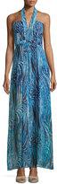 BCBGMAXAZRIA Starr Printed Halter Gown, Royal Blue