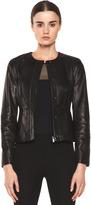 Diane von Furstenberg Maya Leather Jacket in Black