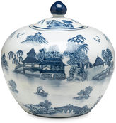 AA Importing 8 Lavieille Round Jar, Blue/White
