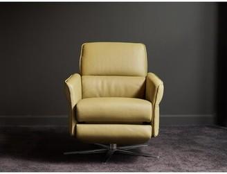Brayden Studio Hofmeister Leather Manual Swivel Recliner Brayden Studio Upholstery Color: Light Olive Green, Leg Color: Stainless Steel