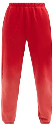LES TIEN Ombre Brushed-back Cotton Track Pants - Red