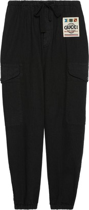 Gucci Logo Patch Wide-Leg Cargo Trousers