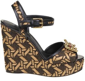 Dolce & Gabbana Wedge In Raffia Ecru / Black Color